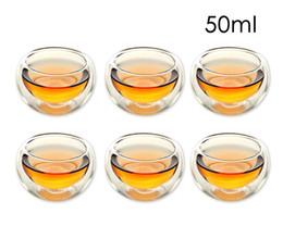 Argentina Juego de 6 Durable 50 ml Capa de pared doble resistente al calor Taza de té Saludable Elegante Agua clara Taza de beber Flor Tazas de té Cristalería Suministro