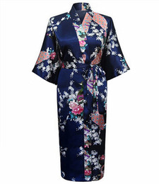 Chemises de nuit soyeuses en Ligne-Bleu marine Womans Sleep Robe Kimono D'été Bain Robe Yukata Chemise De Nuit Femme Silky Sleepshirts Casual Home Wear Vêtements De Nuit S-3XL