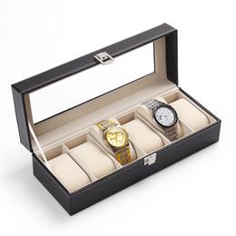 relógios de couro Desconto 1 Pc 6 Slots Watch Case Moda Caixa De Armazenamento De Jóias De Couro Com Tampa Caso Jóias Relógios Titular Display Organizador ZY30