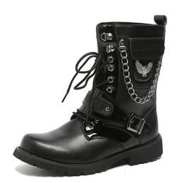 Tubo del cordón de los hombres online-Hombres Botas de tubo alto Moda con cordones Tobillo Martin Botas Hombres de alta calidad de arranque Otoño Invierno zapatos masculinos