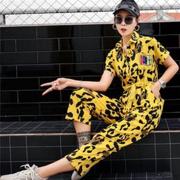 calças leopardo hip hop Desconto Tide marca feminina calça casual feminina 2019 nova personalidade leopardo hip hop t-shirt macacão calças verão