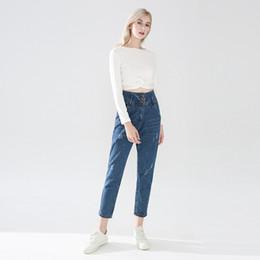 Botones de pantalones holgados online-Mujeres Jeans rectos básicos Ulzzang señoras de cintura alta botón de un solo pecho Ocio pantalones de mezclilla clásicos Baggy Boyfriend Top Shop