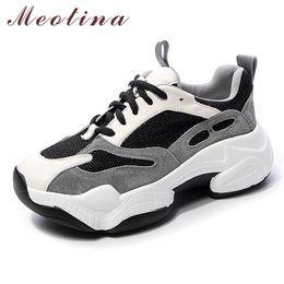 Zapatos de cerdos online-Meotina cuero real Pisos zapatillas de deporte zapatos de plataforma plana Mujeres cerdo Suede Shoes Casual colores mezclados señoras de punta redonda Tamaño 39