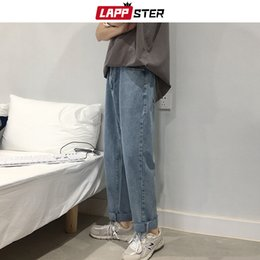 2020 harem denim jeans hombres LAPPSTER Men Korean Fashions Jeans Harem Pants 2019 Summer Streetwaer Hip Hop Loose Denim Jeans Mens Straight Blue Pantalones 2XL rebajas harem denim jeans hombres