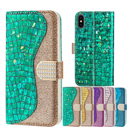 Canada Étui de luxe en diamant avec fermoir diamant pour iPhone XS MAX XR 8 7 6 Plus pour Samsung S8 S9 S10 5G Plus Flip Cover Shell peau de serpent Textur supplier iphone skin rhinestones Offre