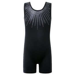 2019 leotard di diamanti Senza maniche Body BAOHULU Bambino Ragazzi per ragazze bambini Solid nero balletto del Leotard di ginnastica diamante Body Bambino leotard di diamanti economici