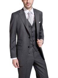 Costumes De Mariage Gris Foncé Slim Fit Costumes Pour Hommes Costume De Groomsmen Costume Trois Pièces Pas Cher Prom De Costumes Formels (Veste + Pantalon + Gilet + Cravate) 256 ? partir de fabricateur