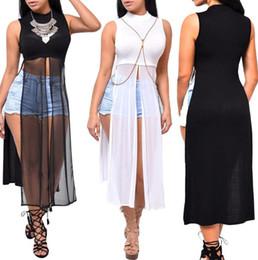 4ce96eb0a4e9e модная одежда Скидка Женщины прозрачное длинное платье дизайнер без рукавов  сплит юбки сексуальные повседневные платья ночной