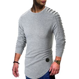 d3aa14ef291 Draped Mens Spring T shirt Longline Curved Casual Tees Long Sleeved Tops  Clothes