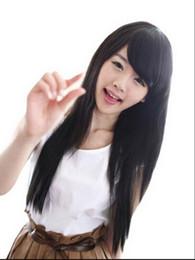 Capelli neri cosplay lunghi della ragazza online-Parrucca 1109 + + + donne ragazze nero moda piena lunga parrucca capelli lisci sano partito cosplay