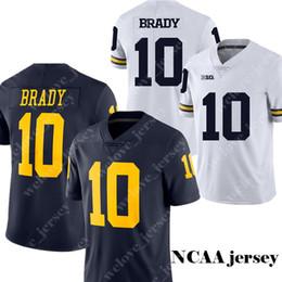 NCAA Michigan Wolverines de los hombres 10 camisetas de fútbol de Bradley Jersey de la universidad de Tom Brady Venta caliente Azul marino Camisetas blancas cosidas S-3XL desde fabricantes