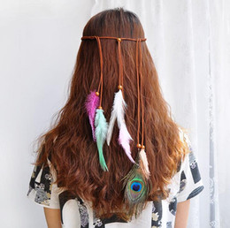 peacock hair band accessories Coupons - Feather Headband - Colorful Boho Tassel Hair Bands Festival Bohemian Peacock Retro Hair Accessories Headdress for Women Girls