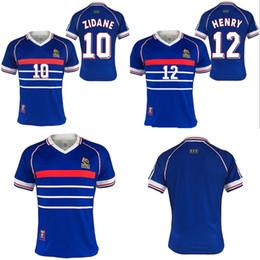 2019 футбол франция равномерное Франция Зидан Генри Майо де фут униформа футбол трикотажные рубашки Таиланд качество 1998 Франция ретро старинные Майо де футбол скидка футбол франция равномерное