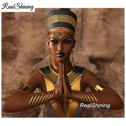 Pintura de egipto online-Nefertiti egypt queen praying, Full Square Diamond Embroidery, Large, 5d Diy Diamond Painting, punto de Cruz, mosaico, patrón FS3218