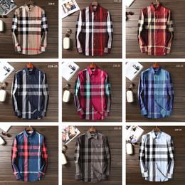 Casual haus kleider online-# 8650 Britischen Königshaus Designer Klassische BBR Plaid Männer Shirts Langarm Medusa Kleid Hemd Reine Männer Casual Shirts Mode Oxford Hemd