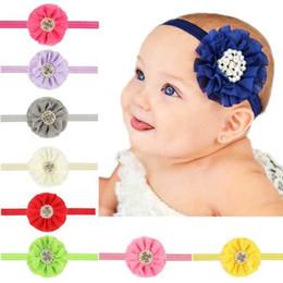 2019 haarschmuck perlen Baby Haarband Handgemachte Chiffon Blumen Stirnband Kinder Handgemachte Perle Strass Blume Haarband Dekoration Einfarbig 4 günstig haarschmuck perlen