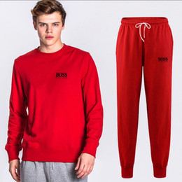 2019 tissu peint BOS designer survêtementNouveau 2019 Brand New Fashion Suit Hommes Sportswear Imprimer Hommes Hoodies Pull Hip Hop Mens survêtement Sweatshirts Tissu tissu peint pas cher