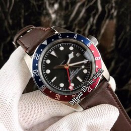 2020 relógios mens vermelho New Black Heritage Bay GMT 79830RB automática M79830RB-0002 Black Dial Mens Watch Azul / Red Bezel Brown Leather Strap Gents Relógios Hi_watch relógios mens vermelho barato