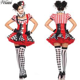 2019 partiti di circo Costume di Halloween per adulti divertenti Harley Quinn Cosplay Womens Harlequin Fancy Dress Clown Circo Party Gown Cosplay