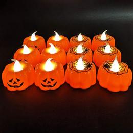 candele carine Sconti Halloween Pumpkin Lamp plastica zucca lume di candela Halloween decorazione sveglia a casa da bar Possibilità Decoration HHA774