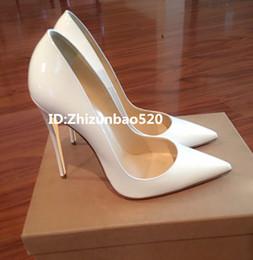 Pointillé à pointe blanche en Ligne-Casual Designer Sexy lady mode femmes escarpins blanc brillant en cuir verni à bout pointu talons hauts chaussures pompes Stiletto grande taille 44 12cm 10cm 8cm