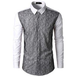 b7edc7bc721b73 Mesh Design Novelty Male Shirt Korean Style Loose Tops Turn-down Collar Long  Sleeve Blusa Handsome Boys Patchwork Casual Shirts