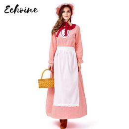 Модные красные длинные платья онлайн-Echoine California Farm Фартук горничной косплей костюм Женщины красный с длинным рукавом Fancy Сказочная Идиллические Сценическое платья Hat + Фартук