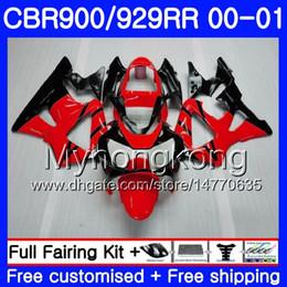 Honda cbr 929 rr verkleidungen online-Karosserie Für HONDA CBR900 RR CBR 929 RR CBR 900RR CBR929RR 00 01 279HM.13 CBR 929RR Hellrot schwarz CBR900RR CBR929 RR 2000 2001 Fairings Kit