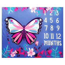 2020 photographie papillons Baby Monthly Milestone Blanket Butterfly Photography Backdrop Newborn Photo Prop A2UB promotion photographie papillons