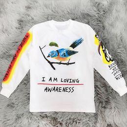 camisa de esqueleto da luva longa Desconto Kanye West Wyoming T-shirt Das Mulheres Dos Homens de Alta Qualidade T-shirt de Manga Longa de Algodão de Design de Esqueleto de Graffiti Skate Camiseta Top YCI0222
