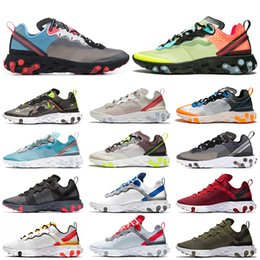 Tenis rosa online-nike Epic React Element 87 UNDERCOVER Mens Running Shoes Sail Anthracite Thunder Blue Midnight Navy Green Mist Mujer Deportes Zapatillas 36-45