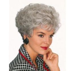 Argentina Free shippingNew Hot Fashion Chic corto rizado peinado abuela fibra resistente al calor pelucas sintéticas supplier hot short hairstyles Suministro