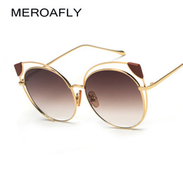 28ce0153cb MEROAFLY Brown Hollow Cat Eye Sunglasses Women Vintage Brand Designer Ladies  Pink Mirror Sun glasses For Women UV400 Metal