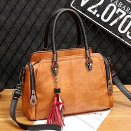кожаные сумки боковые карманы Скидка New Women Bag Vintage Tassel Star Female Handbag Leather Side Zip Pocket Ladies Hand bags Crossbody Messenger Bag For Woman 2019