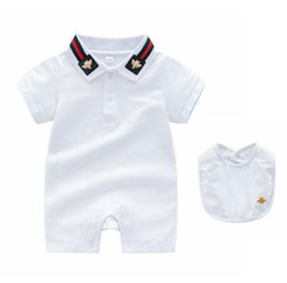 Ropa de personajes para niños online-Retail Summer Short Sleeved Jumpsuit Newborn Romper Character Baby Boys Baby Girls Clothes Infant Rompers 2pcs suit