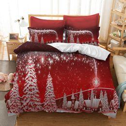 Camas individuales niños online-Conjuntos de ropa de cama de Navidad 3d Juego de funda nórdica para niños tamaño queen Funda de almohada Cama individual completa