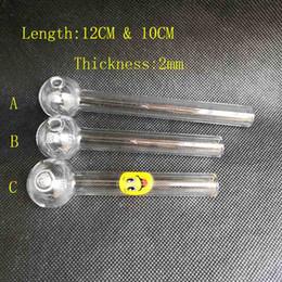 12cm 10cm trasparente Pyrex olio bruciatore 2mm di spessore tubo di vetro 25mm OD palla con sorriso per acqua fumo tubo di vetro bong olio rig narghilè gorgogliatore strumento da