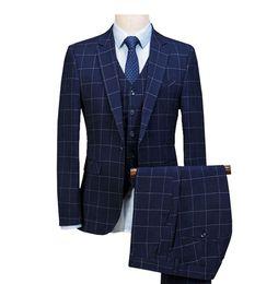 Куртка из королевской коровы онлайн-2019 Royal Blue 3 Pieces Mens Suits Plaid Slim Fit Wedding Suits Groom Tweed Wool Tuxedos for Wedding (Jacket+Pants+Vest)