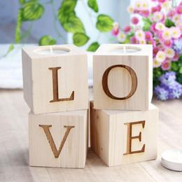 2019 luzes de chá de marfim Amor castiçal castiçais românticos para decoração de casa castiçais de madeira luz casamento amor decoração QW9049