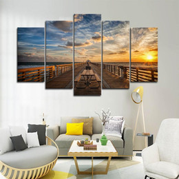 grandes carteles de pared Rebajas 5 piezas grandes nubes enmarcadas Sunset Boardwalk Seascape Wall Art Pictures for Bed Room Wall Decor Posters and Prints Canvas Painting