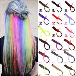 2019 блики для наращивания волос MUMUPI Длинные прямые Поддельный Цветные Extensions волос зажим в Streak Радуга волос Розовые Synthetic прядей на клипы дешево блики для наращивания волос