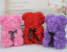 2019 lindos regalos de navidad para amigos Flores artificiales Rosa Oso Multicolor Espuma Plástica Flor de Rosa Oso de Peluche Regalo del Día de San Valentín Fiesta de Cumpleaños Decoración de Primavera A1010