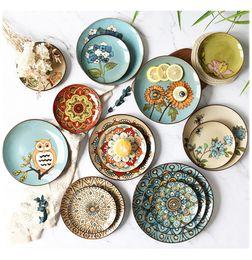 Pintando platos de cerámica online-Platos de cerámica Personalidad Placa pintada a mano Western Steak Plate Pasta Plate Vajilla para el hogar y la cocina Envío gratis A03