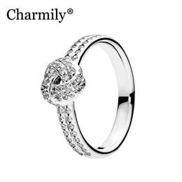 кольцо из стерлингового серебра Скидка Charmily Jewelry Genuine 100% 925 Sterling Silver Sparkling Love Knot Ring Original Rings For Women