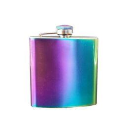 Frasco de flautas on-line-6 oz Rainbow Aço Inoxidável Hip Flask Portátil Flagon Pote De Vinho Colorido De Metal Em Aço Inoxidável Hip Flask MMA1931