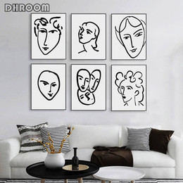 Arte de pared abstracto mujer online-Henry Matisse Abstract Portrait Poster Prints Woman Face Line Artwork Canvas Painting Black White Minimalist Wall Art Picture