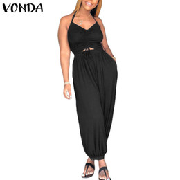 8b80ac3818 VONDA Rompers Womens Jumpsuit Sexy Sleeveless Backless Halter Solid Harem  Pants Casual Baggy Hollow Overalls Plus Size Playsuit