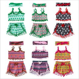 suspenders vest Promo Codes - Baby Girl Clothes Kids Summer Tassel Clothing Sets Photo Crop Tops Shorts Headband Suits Beach Suspenders Vest Pants Hairband Outfits B5871