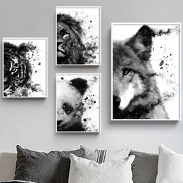 2020 leão pôsteres Wall Art Panda Lobo Lion Tiger animal Moda Art Prints pintura da lona posters and prints Recados Pictures Para Living Room Decor desconto leão pôsteres