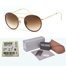 Marca Designer Óculos De Sol Das Mulheres Dos Homens de Moda Redonda Meta Quadro Óculos de Sol Shades lente de vidro Oculos De Sol com casos de Varejo e rótulo cheap label frame de Fornecedores de quadro de etiqueta